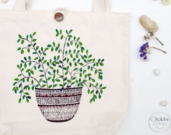 Tote bag, cotton material, Original hand painted plant in the pot .