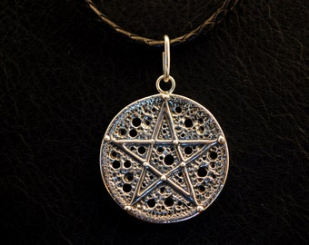 Full moon magic pendant, 925 sterling silver, pentacle, pentagram, witch, occult, pagan jewelry, witchcraft, ritual, lost wax casting