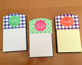 Monogrammed Sticky Notes Holder - Personalized Note Holder - Customized Desk Accessory