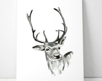 Fawn Art Deer watercolor - ink drawing - Giclee print - Deer Painting Deer illustration - Animal art - Home Decor - Deer Zen Art Sumi Ink