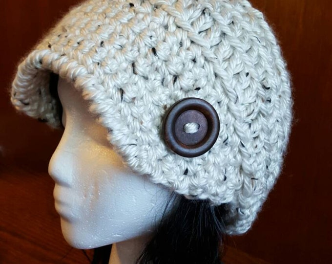 Hand crochet slouchy peaked hat
