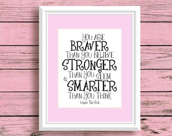 Winnie the Pooh Nursery Movie Poster Wall Art Decor Quote You Are Braver Than You Believe Inspirational Typographic Print Home Decor 2000