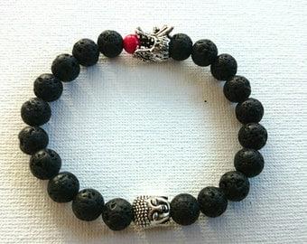 Basalt or Lava Rock Buddha Dragon Lion Elefant bracelet
