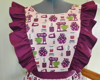 Vintage Kitchen Utensils pinafore apron in Pink and Purple