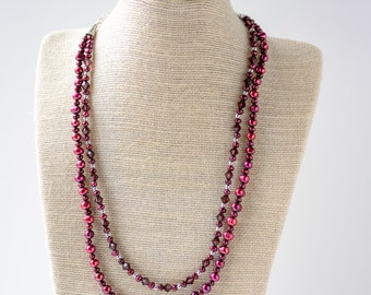 Raspberry Freshwater Pearl and Swarovski Crystal Necklace