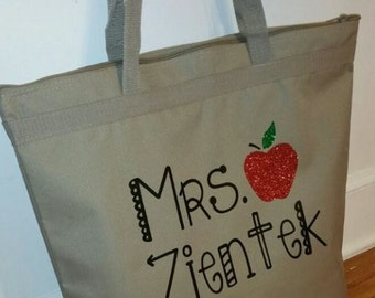 Glittered Apple Teacher Tote