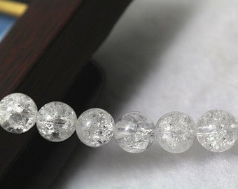 8 mm Natural Snow Rock Crystal Quartz round beads, 15 inches per strand