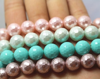 10 mm South Sea Shell Pearls Round Beads,128 faceted Round Beads,15 inches 1 strand