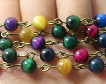 3 Feet,Multicolor Tigereye Beads Chain Link with a bronze chain,6mm Tigereye beads