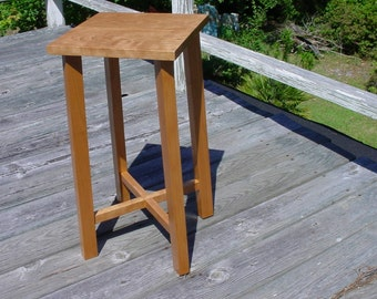 Solid Black Cherry Side Table...Handcrafted from local rough sewn cherry lumber, Built w/ handtools using dovetail, mortise & tenon...