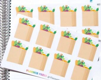 Full Box Grocery Bag Planner Sticker fits Erin Condren Life Planner (ECLP) Reminder Sticker 1822