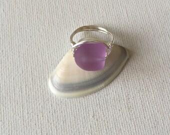 Lavendar Sea Glass Silver Wire Ring