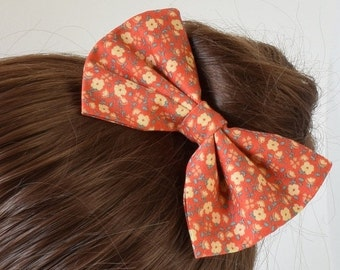 Floral Fabric Hair Bow for Girls | Bows for Teens | Hair Bows for Women | Bows for Girls | Floral Hair Bow | Fabric Bows | Hair Clips