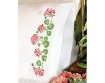 Dimensions Stamped Embroidery Kit - Summer Geraniums Pillowcases