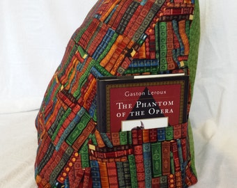 Wedge Pillow With Pockets, Book Pillow, Corner