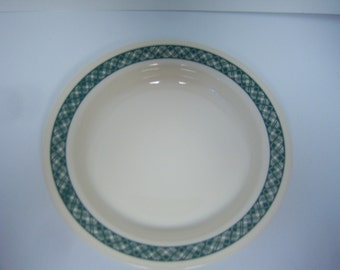 Corning Corelle Low Soup Or Salad Bowls, VHTF, Cream With Green Plaid, Total Of Six, No Damage, Item #187904, Microwave Safe, Used?