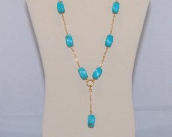 Twisted Turquoise Gemstone Lariat Necklace