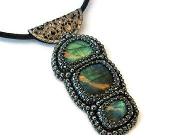 Blue labradorite embroidered pendant necklace, Blue labradorite necklace