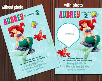 Little Mermaid Invitation. Princess Ariel Invitation. Mermaid Invitation. Digital (you  print)