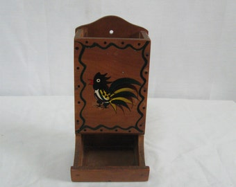 Vintage Mid Century Solid Wooden Kitchen Match Holder Hand Painted Rooster on Front