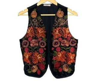 Vintage Vest Floral Ethic Boho Bohemian Vest Handmade in Guatemala Hippie Hippy Size Medium