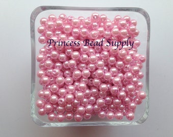 6mm Pink Pearl Beads Set of 100 or 200,  6mm Pink Pearl Spacer Beads, 6mm Pink Pearls, 6mm Spacer Beads, Chunky Bubble Gum Beads