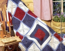 Crochet Granny Square Afghan Blanket Throw Pattern, Crochet Americana Afghan Pattern