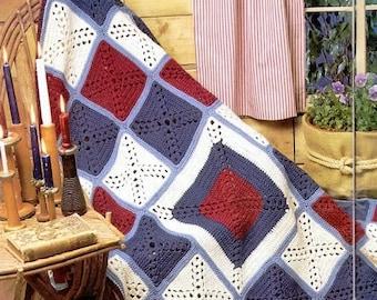 Crochet Americana Granny Square Afghan Blanket Throw Pattern - Digital Download