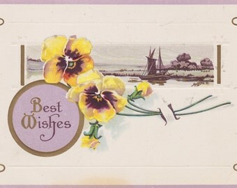 Vintage Embossed Best Wishes Postcard Yellow Pansies 1900's Estate Sale Collectible Mixed Media Crafts Shabby Chic Unused