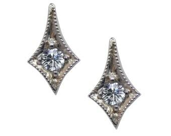 Vintage Platinum Diamond Stud Earrings
