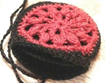 Crochet Drawstring Holder bag, crystal pouch, tribal ornament, sun pattern, crochet mini pendant, necklace wallet, red and black, celtic