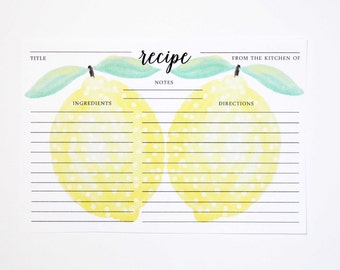 Lemon Hand-Painted Recipe Cards