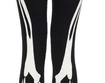 LADIES Womens Skeleton Bone Halloween Print Leggings All Sizes