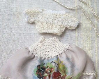 Monster doll greyish-creamy hand-painted silk SKIRT and creamy SWEATER set OOAK