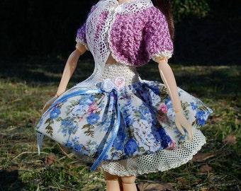 Momoko and Blythe handmade light violet SWEATER and flowery SKIRT OOAK set