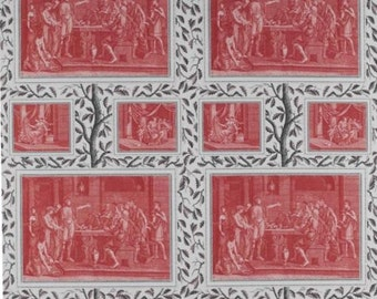 LEE JOFA KRAVET Ancient Greece Pictorial Toile Linen Fabric 10 Yards Coral Gray