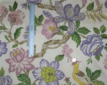 SCHUMACHER Jacobean Tree Of Life Birds Camellias Linen Fabric 10 Yards Lavender