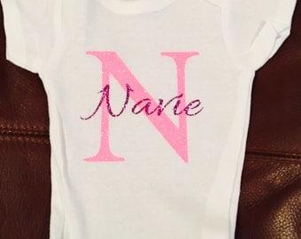 Monogram and name baby onesie