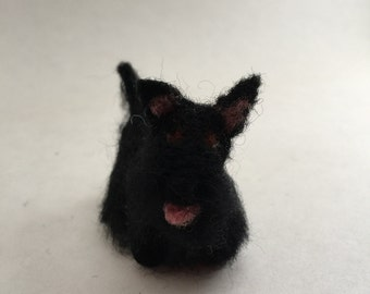 Needle-Felted Scottish Terrier Dog Sculpture