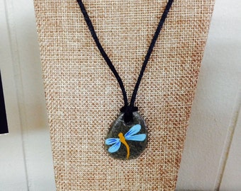 Hand painted Dragonfly Rock Necklace