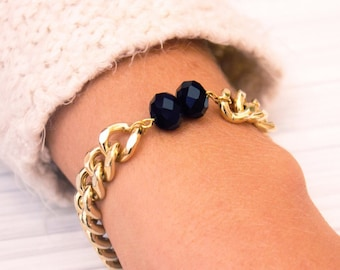 Gold bracelet, Black crystal, unique jewelry, gift for her, gold and black