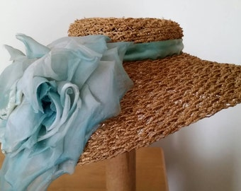 Antibellum style Straw Hat with Turquoise Full Bloom Chiffon Rose