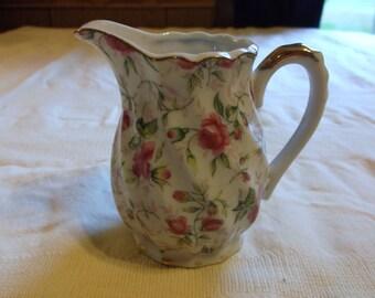 Vintage Lefton China Hand Painted Porcelin Creamer with floral pattern