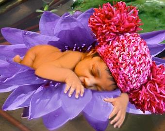 New Baby Hat: Big Pompom Crochet Baby Hat, Photo Prop, Floating-On-A-Lili-Pond