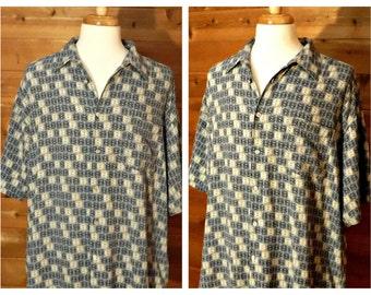 Men's shirt, XL, men's Wrangler shirt, Western shirt, silk shirt, collar shirt, short sleeve shirt, cowboy shirt, men's oversize shirt