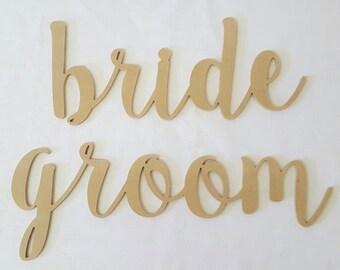Bride & Groom unpainted wooden sign plaque chair wedding decor