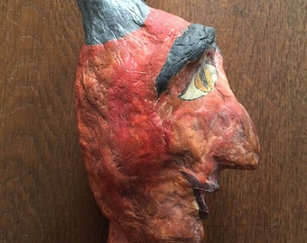 Vintage Hand Crafted Paper Mache Krampus Devil Head for a Hand Puppet