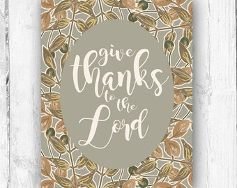 Give Thanks, Autumn Print, Wall Print, Leaves