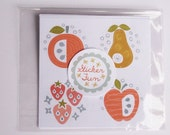 24 Scandinavian Folk Fruit Stickers Labels 4cm Retro Apple Cherry Strawberry Food Illustrations Stationery Children Kids Party Favor Gift