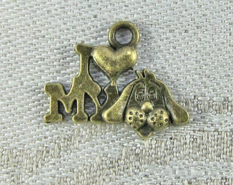 Set of (12) Bronze I Love My Dog Charms 12 per package  LOV019BZ